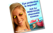 Window Cling Reminds Tanners Eye Protection is Required